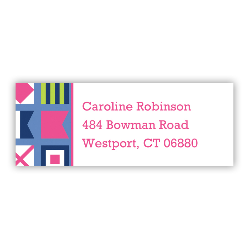 Nautical Flags Pink Return Address Label, 90 labels