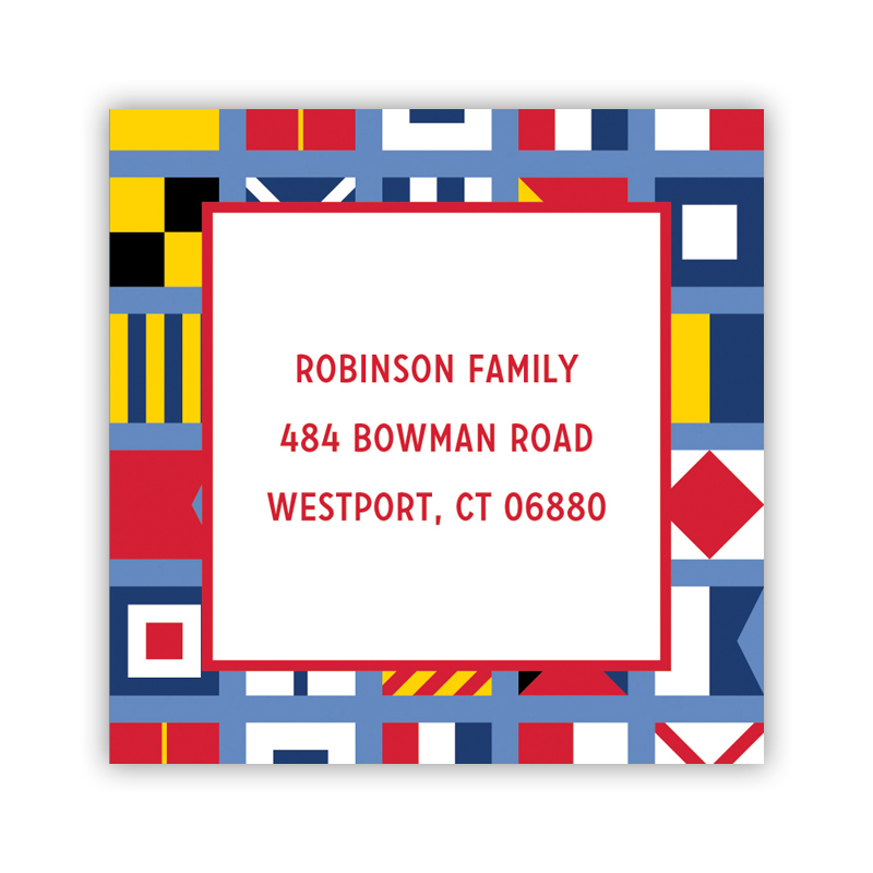 24 Personalized Nautical Flags Square Stickers