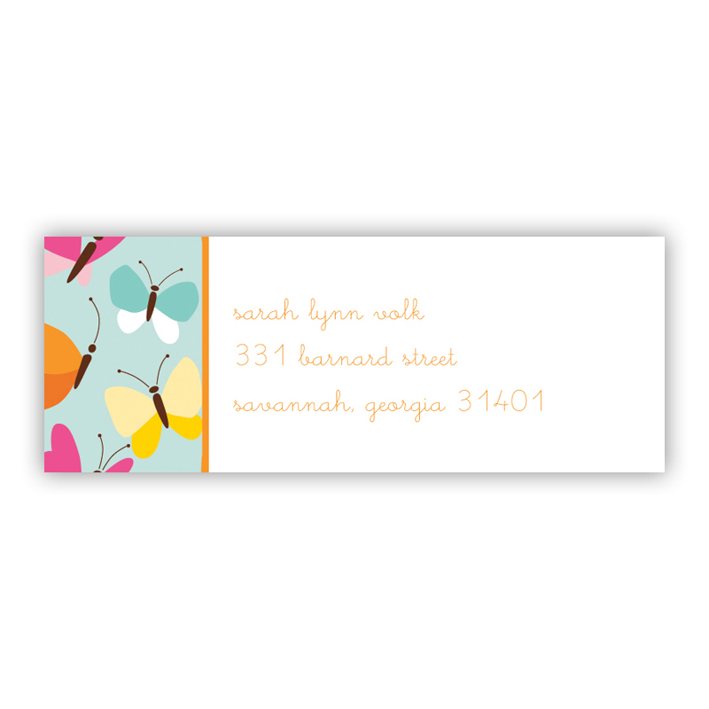 Flutter Teal Return Address Label, 90 labels