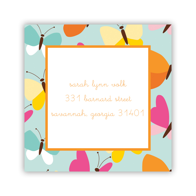 24 Personalized Flutter Teal Square Stickers