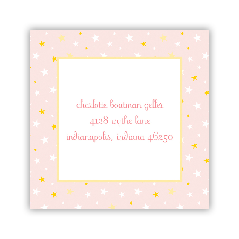 24 Personalized Twinkle Star Light Pink Square Stickers