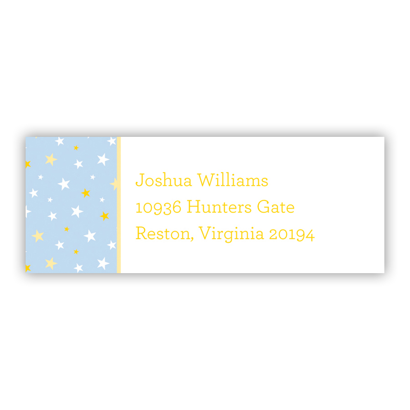 Twinkle Star Light Blue Return Address Label, 90 labels