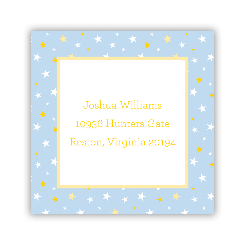 24 Personalized Twinkle Star Light Blue Square Stickers