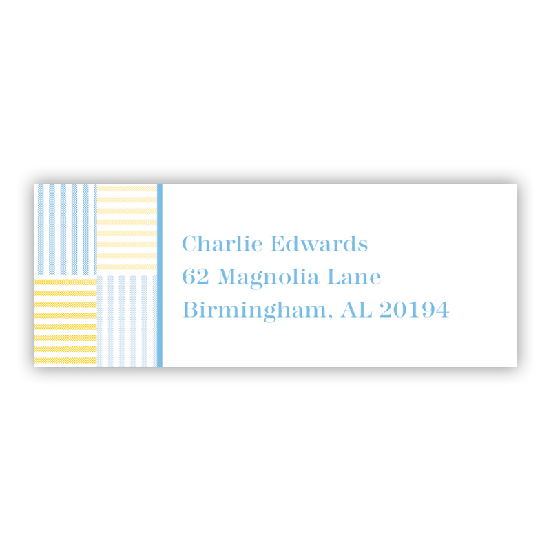 Seersucker Patch Light Blue Return Address Label, 90 labels