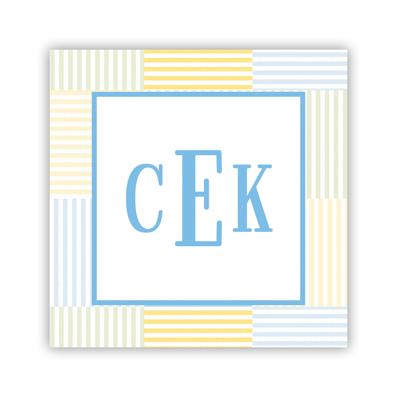 24 Personalized Seersucker Patch Light Blue Square Stickers