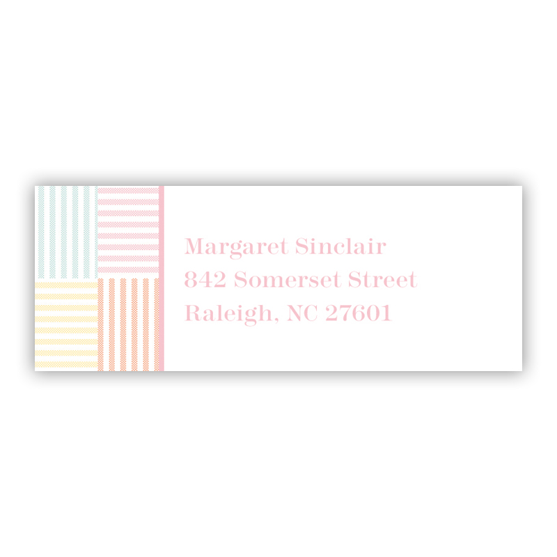 Seersucker Patch Light Pink Return Address Label, 90 labels