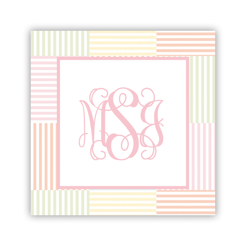 24 Personalized Seersucker Patch Light Pink Square Stickers