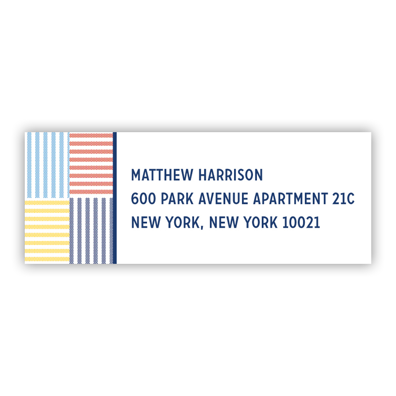 Seersucker Patch Blue Return Address Label, 90 labels