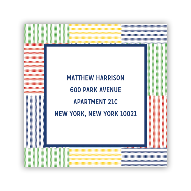 24 Personalized Seersucker Patch Blue Square Stickers