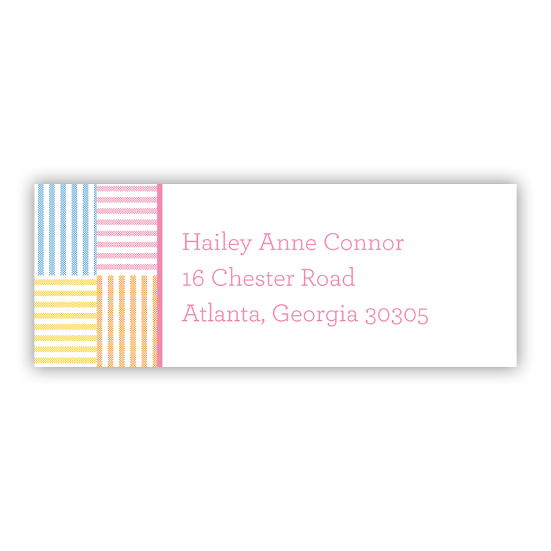 Seersucker Patch Pink Return Address Label, 90 labels