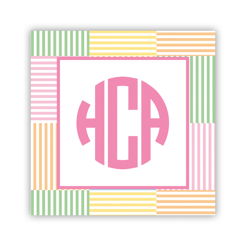 24 Personalized Seersucker Patch Pink Square Stickers