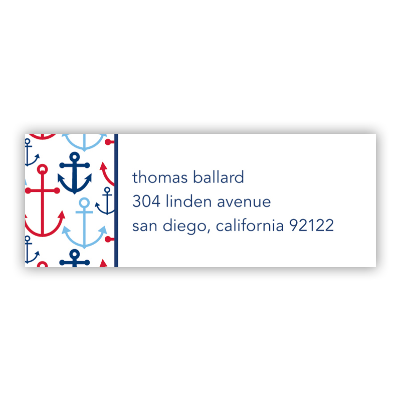 Happy Anchors Blue Return Address Label, 90 labels