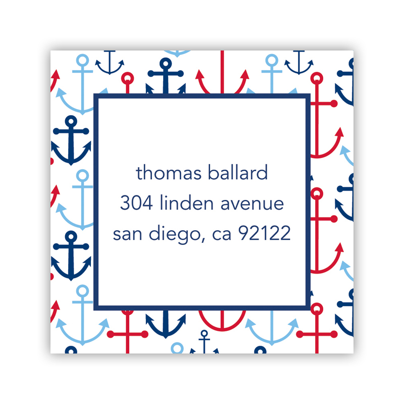 24 Personalized Happy Anchors Blue Square Stickers