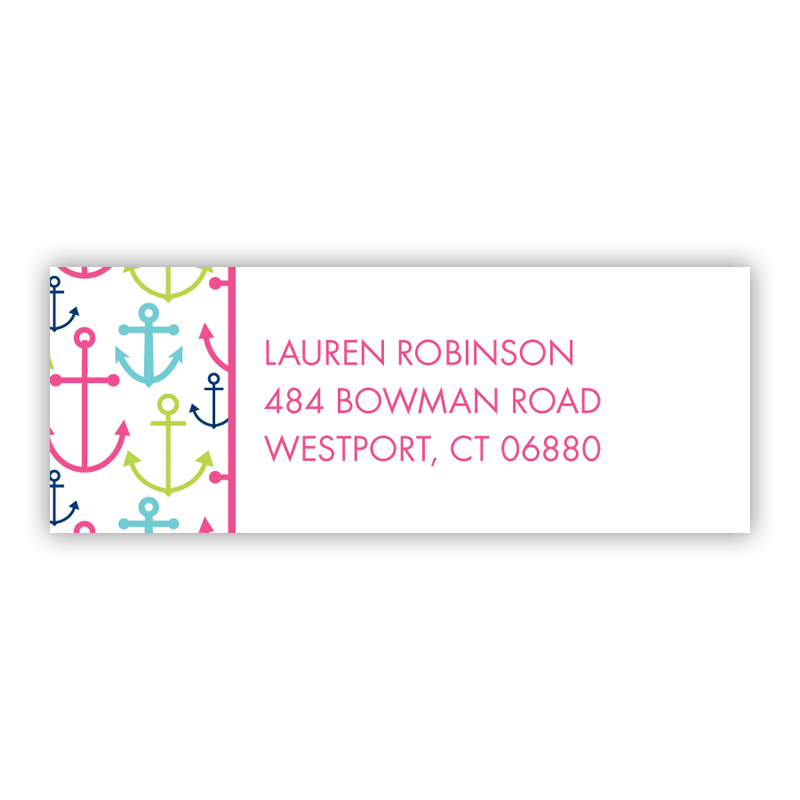 Happy Anchors Pink Return Address Label, 90 labels