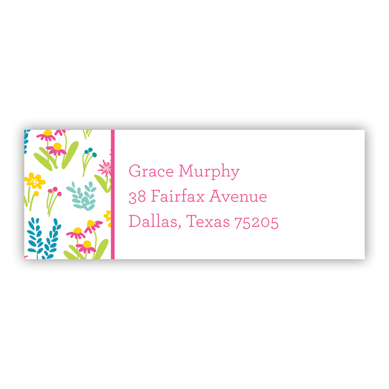 Flowers Fields Pink Return Address Label, 90 labels