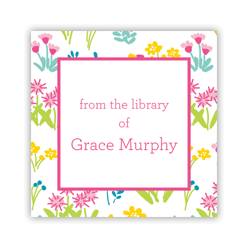 24 Personalized Flowers Fields Pink Square Stickers