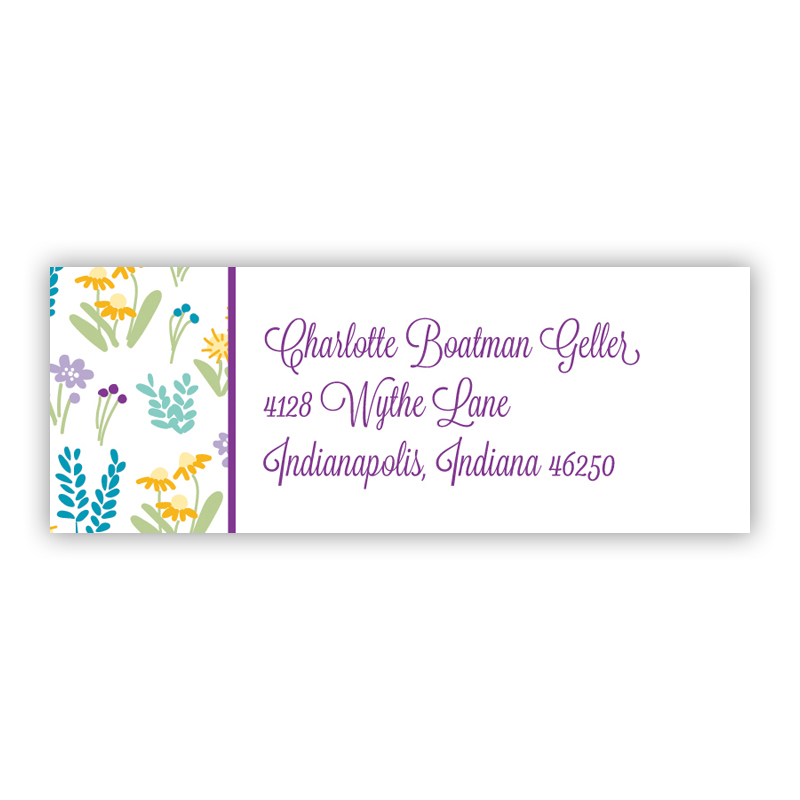 Flower Fields Purple Return Address Label, 90 labels