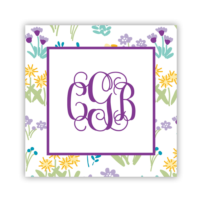 24 Personalized Flower Fields Purple Square Stickers