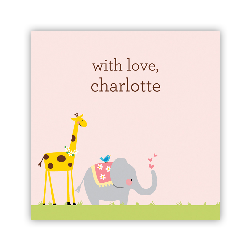 Animal Parade 24 Personalized Square Stickers