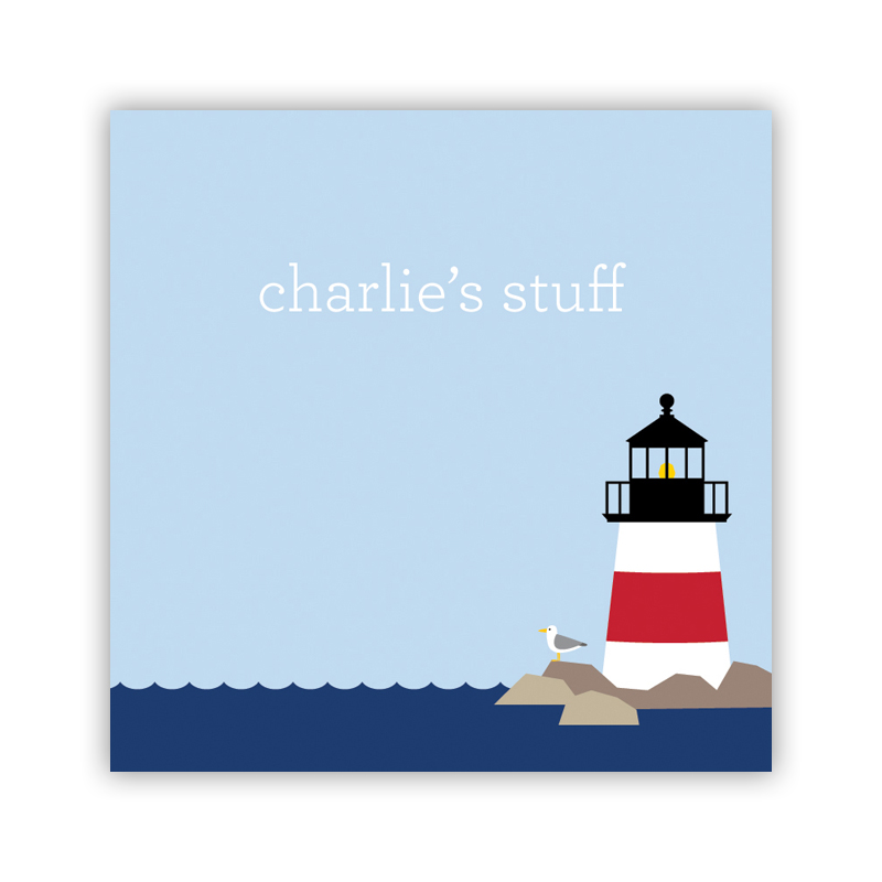 Lighthouse 24 Personalized Square Stickers