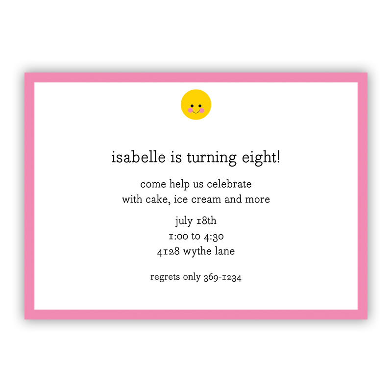 Smiley Invitation or Announcement, sets of 25