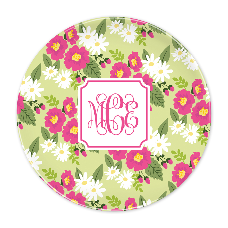 Personalized Lillian Floral Bright 10 inch Plate