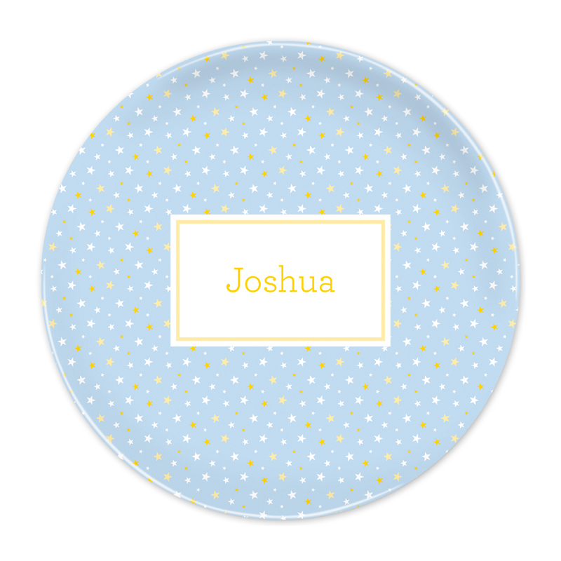 Personalized Twinkle Star Light Blue 10 inch Plate