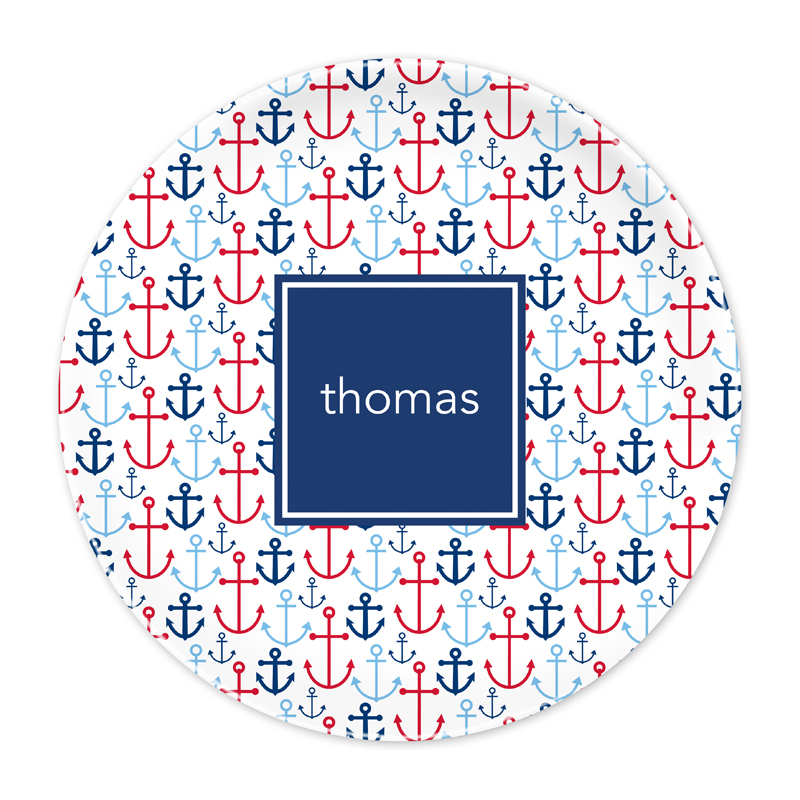 Personalized Happy Anchor Blue 10 inch Plate