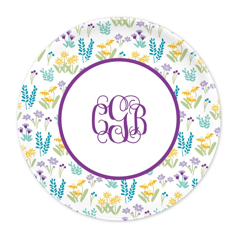 Personalized Flower Fields Purple 10 inch Plate