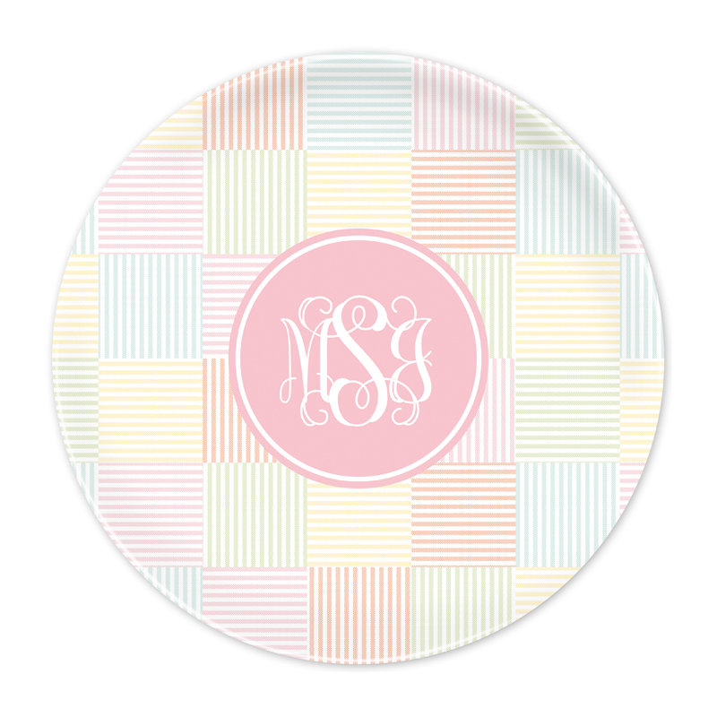 Personalized Seersucker Patch Light Pink 10 inch Plate