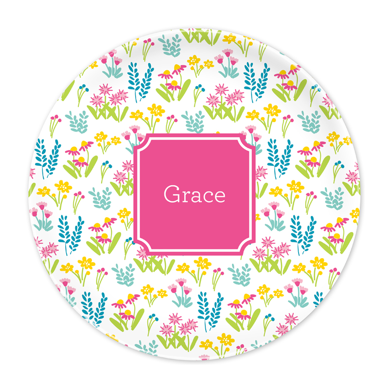 Personalized Flower Fields Pink 10 inch Plate