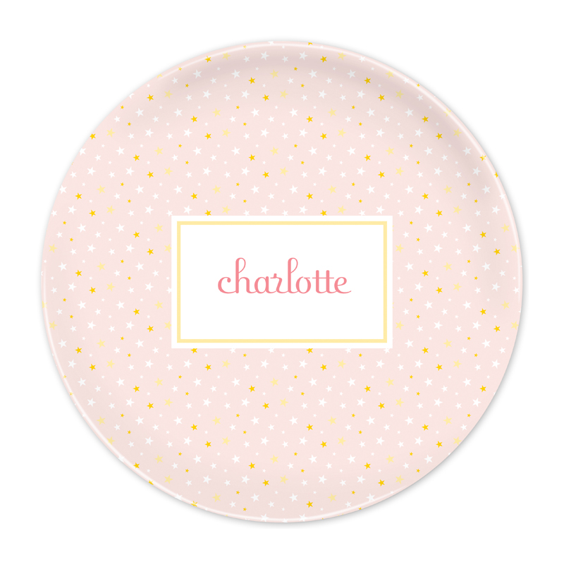 Personalized Twinkle Star Pink 10 inch Plate