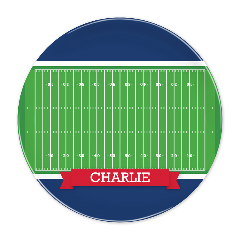 Personalized Football Field with Pink or Red Banner 10 inch Plate