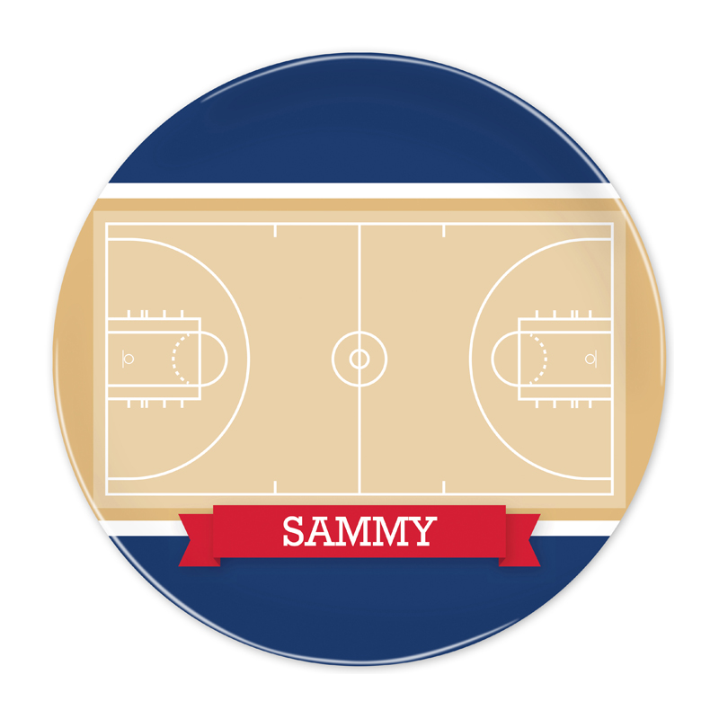 Personalized Basketball Court with Pink or Red Banner 10 inch Plate