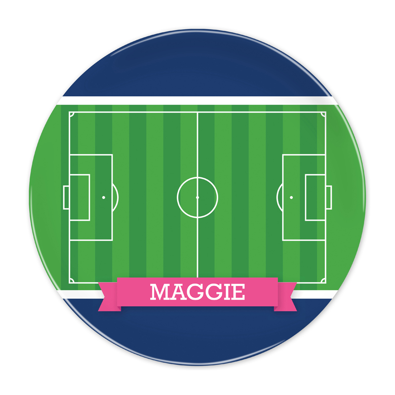 Personalized Soccer Field with Pink or Red Banner 10 inch Plate