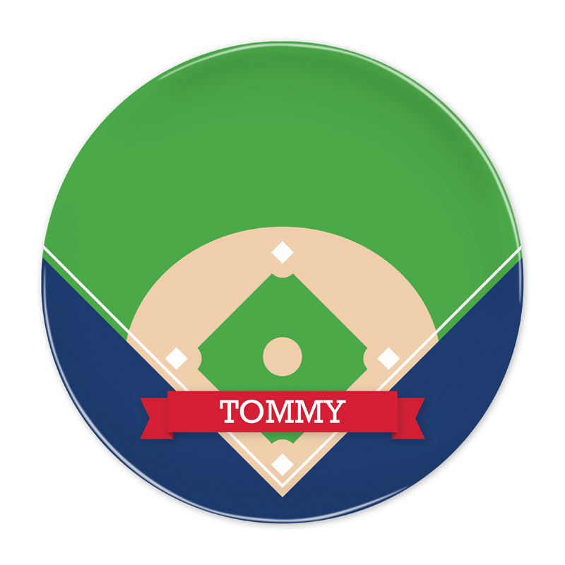 Personalized Baseball Diamond with Pink or Red Banner 10 inch Plate