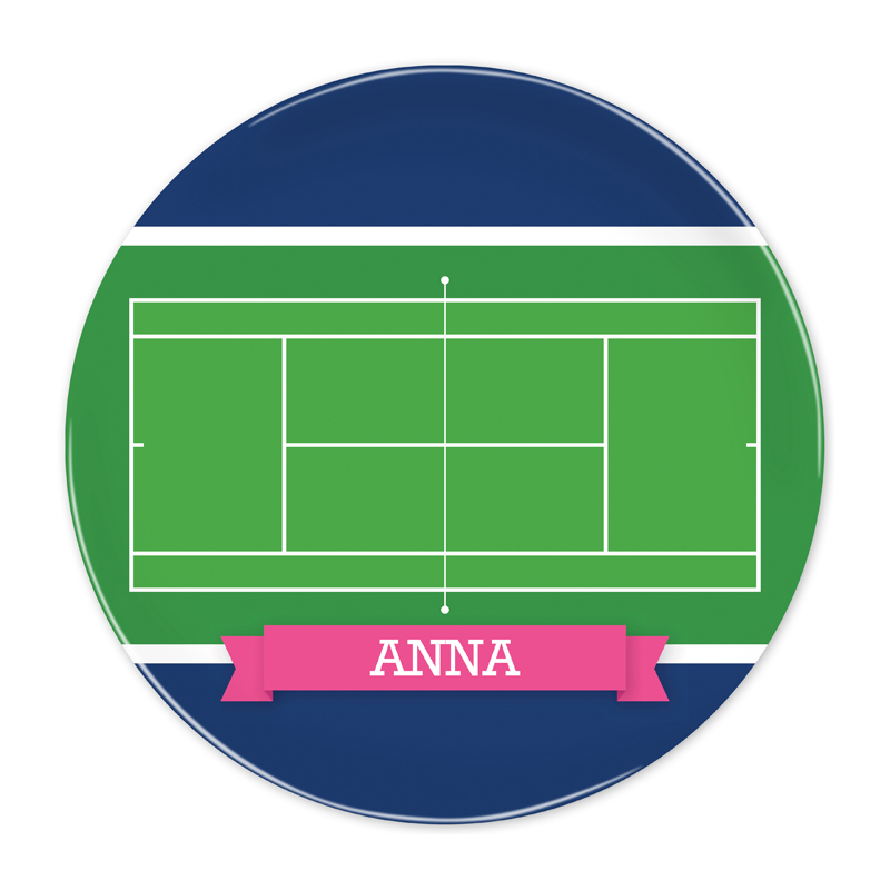 Personalized Tennis Court with Pink or Red Banner 10 inch Plate