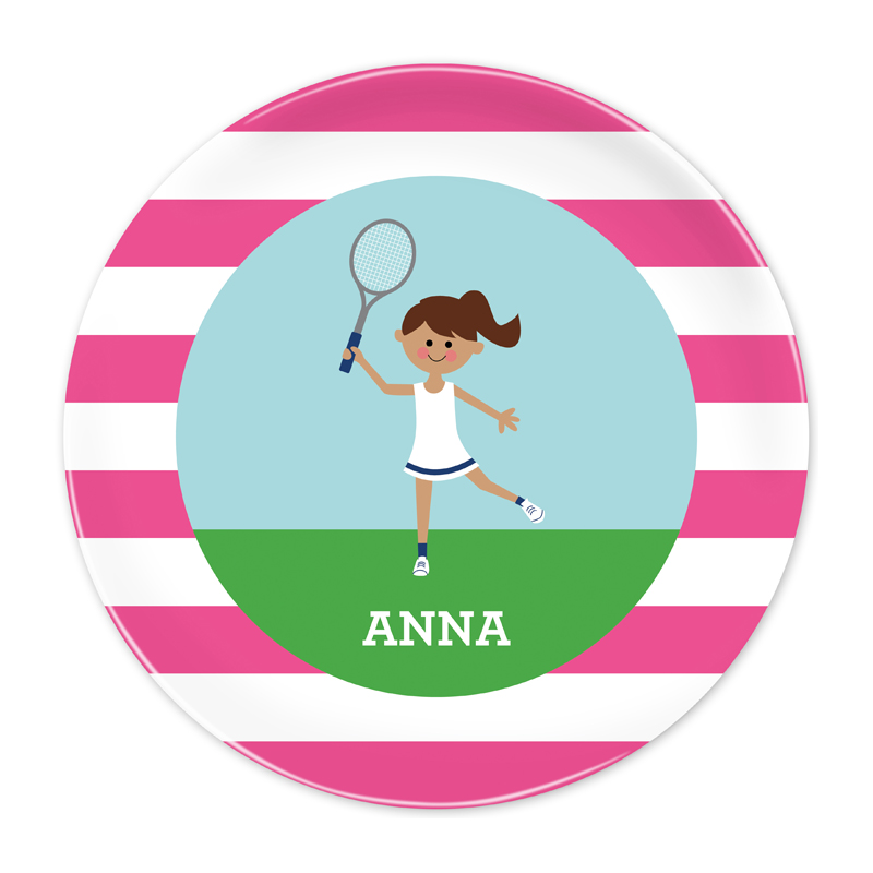 Personalized Tennis Player Customized Kid 10 inch Plate