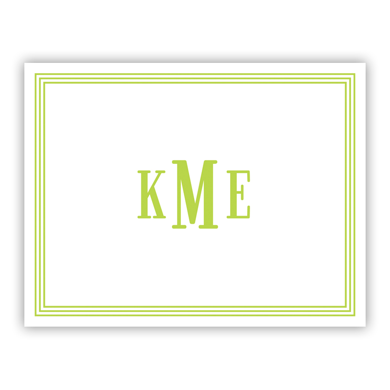 Grand Border Lime Stationery, 25 Foldover Notecards