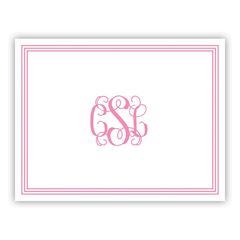 Grand Border Pink Stationery, 25 Foldover Notecards