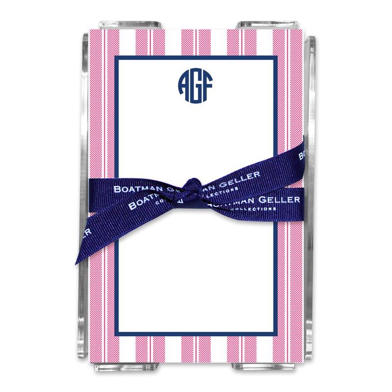 Personalized Vineyard Stripe Raspberry Note Sheets in Acrylic Holder