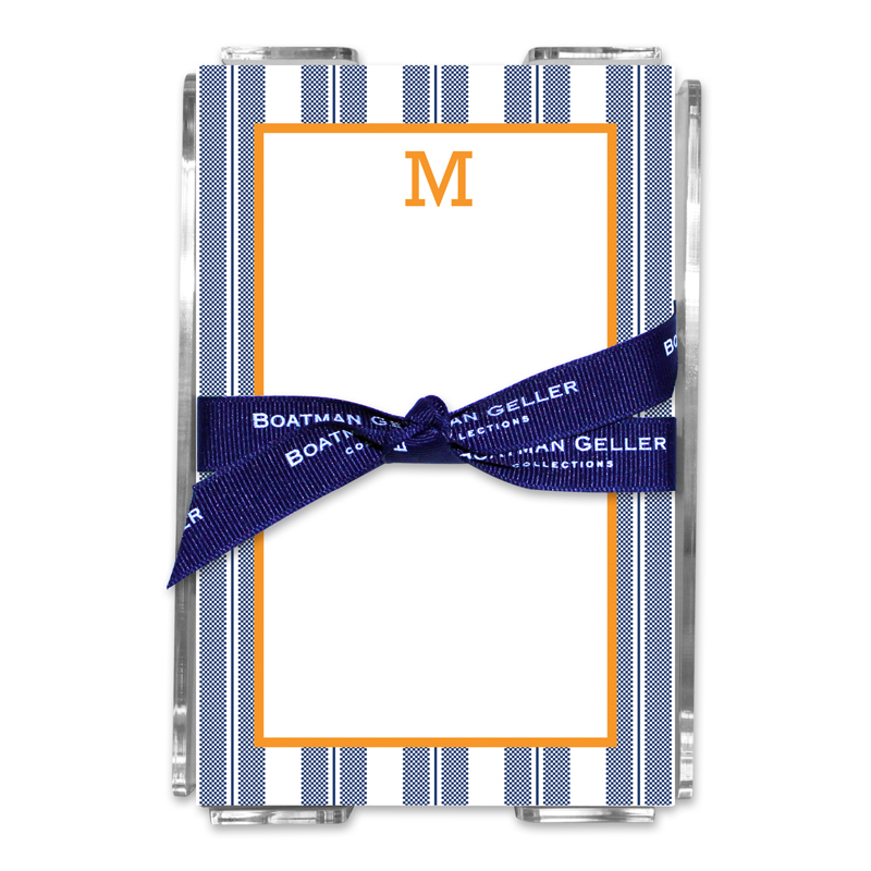 Personalized Vineyard Stripe Navy Note Sheets in Acrylic Holder