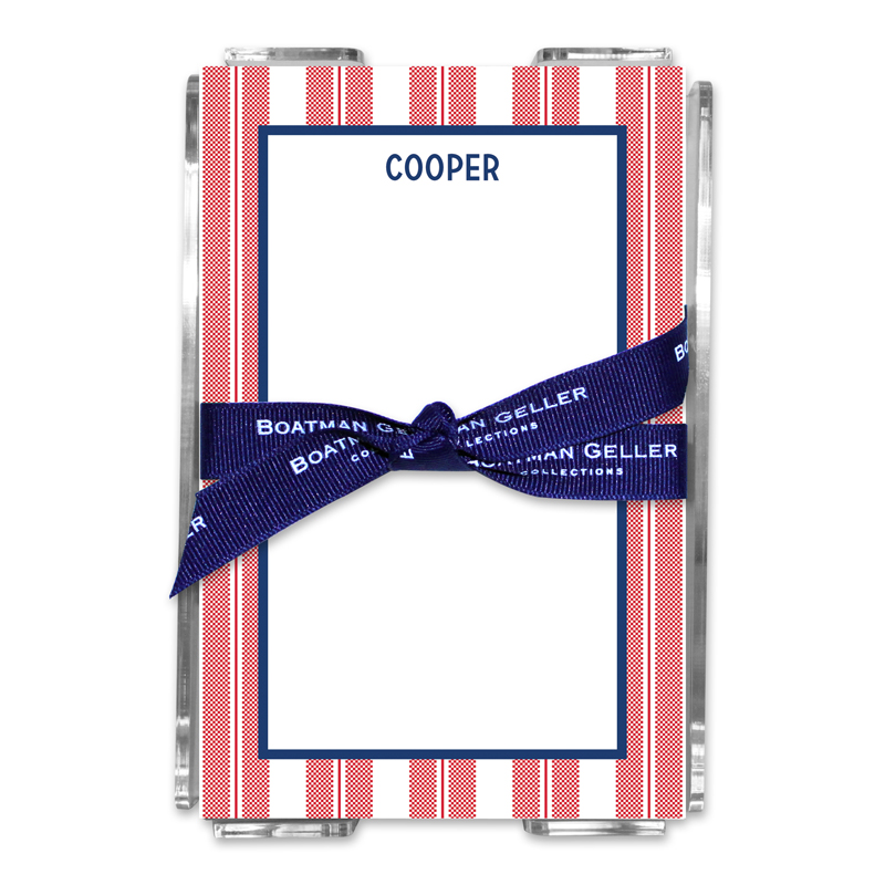Personalized Vineyard Stripe Cherry Note Sheets in Acrylic Holder