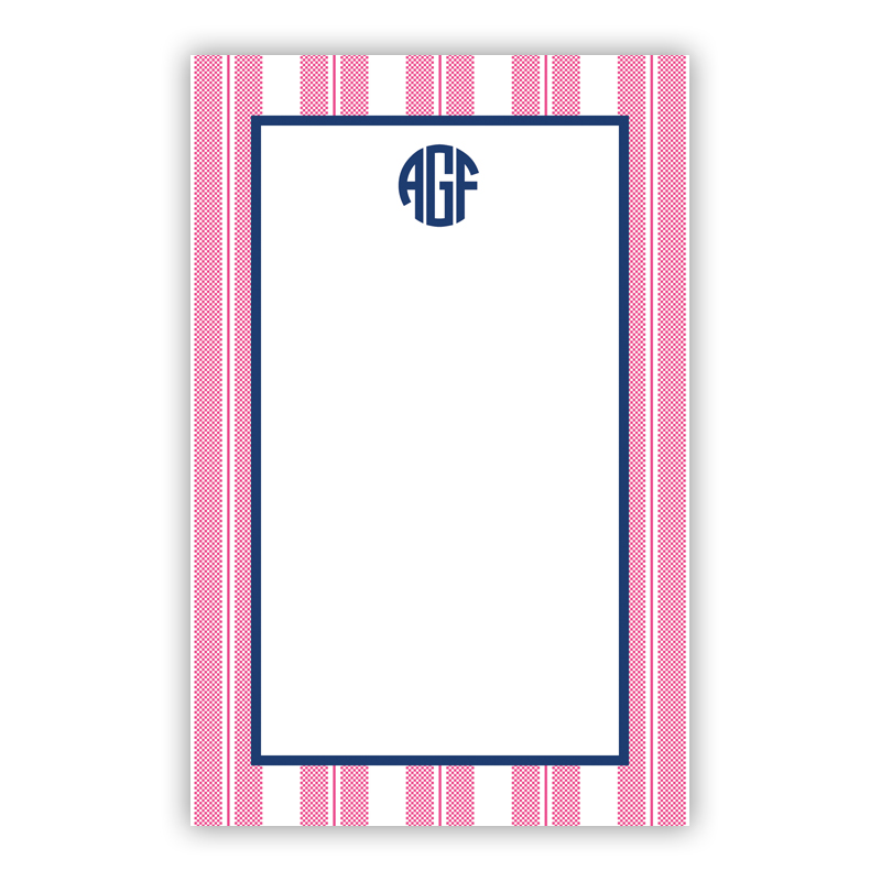 Personalized Vineyard Stripe Raspberry Notepad (100 sheets)