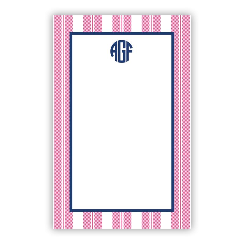Personalized Vineyard Stripe Raspberry Notepad (100 sheets)
