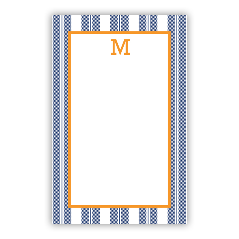 Personalized Vineyard Stripe Navy Notepad (100 sheets)