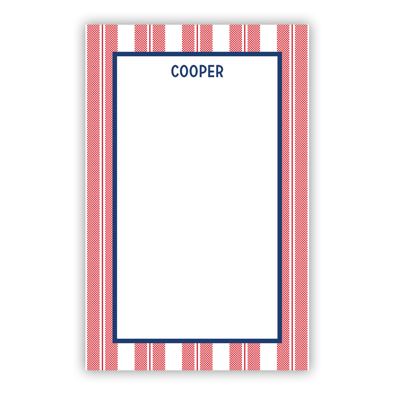 Personalized Vineyard Stripe Cherry Notepad (100 sheets)