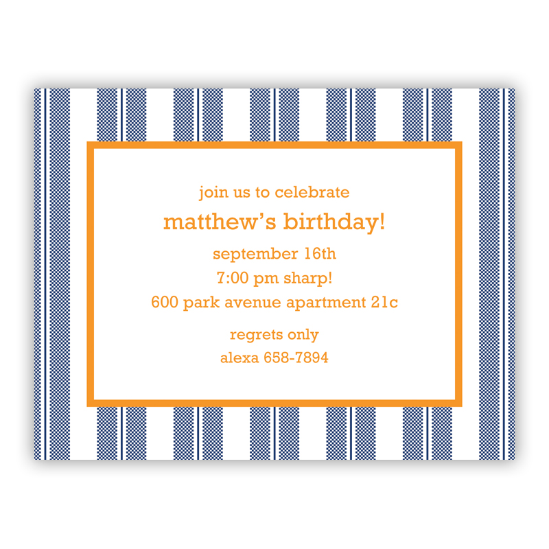 Vineyard Stripe Navy Small Flat Invitation or Announcement
