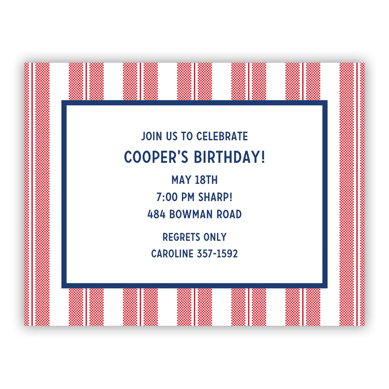 Vineyard Stripe Cherry Small Flat Invitation or Announcement