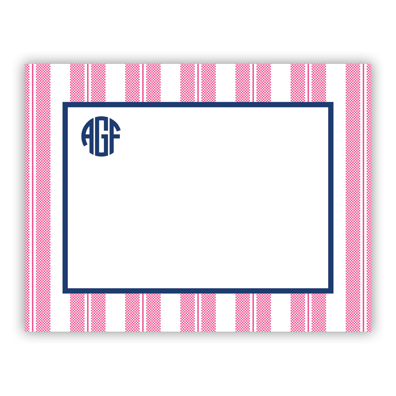Vineyard Stripe Raspberry Small Flat Stationery Note